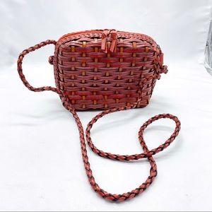 Vintage Red Leather Basketweave Crossbody Bag